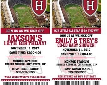Printable Harvard Crimson College Football Birthday Party Invitation NCAA Ticket Invitation Baby Shower Invitations