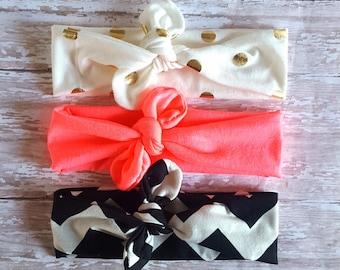 Tie Knot Headband/ Gold Polka Dot Headband/Neon Headband/ Black Chevron Headband/Neon Coral/Adult Headband/ Jersey Headband/ Turban Headband