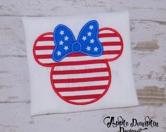 4th of July Minnie Mouse Applique Design, Machine Embroidery Design, Mickey Mouse, Birthday, Bow, Independence Day, 4x4, 5x7, 6x10, 9x9