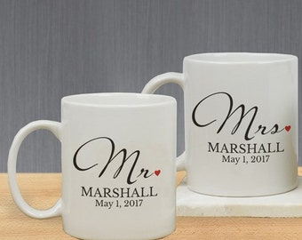 Mr and Mrs Personalized Mug Set, Mr & Mrs Coffee Mug Set Personalized