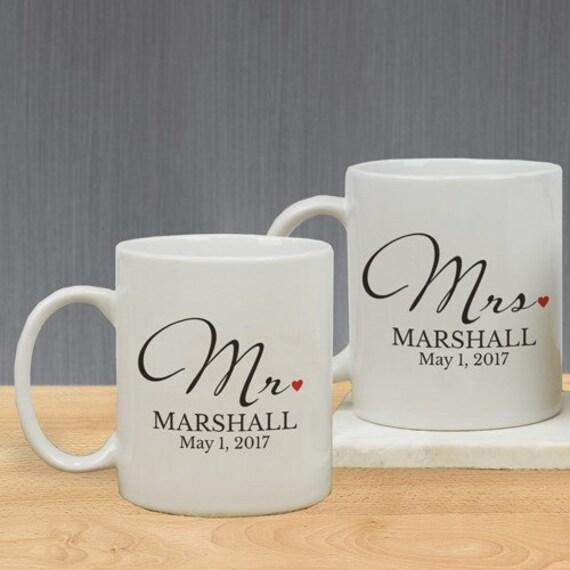 Mr And Mrs Personalized Mug Set Mr & Mrs Coffee Mug Set