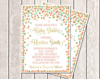 Baby Shower Invitation Printable Coral Mint Gold Confetti Baby Shower Invite Mint Peach Gold Baby Shower Invitation Girl Baby Sprinkle