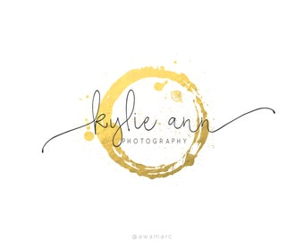 Logo Design, Custom Logo Design, Photography Logo, Premade Logo, Gold Circle Logo, Custom Logos, Gold Logo, Gold Foil, Typography, Pre Made
