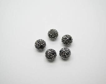 50pc Hematite Black Color Clay Round Spacer Loose Beads 6mm 8mm 10mm