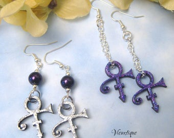 "Prince Earrings, Prince Jewelry, Prince Tribute, Purple Rain, Prince Symbol, Prince ""The Artist"""