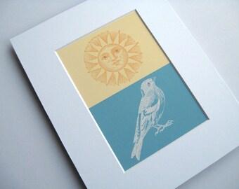 Matted 5 x 7 Bird and Sun Art, Sun Woodcut, Bird Etching, Nature Print