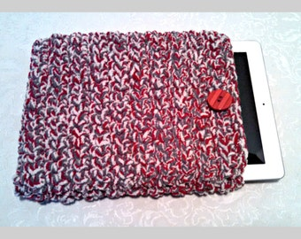 Chenille 10 Inch Tablet iPad Cover with Vintage Button, Hand Crocheted Tablet Sleeve, Red Gray, #TT-B5, Washable, Free Domestic Shipping