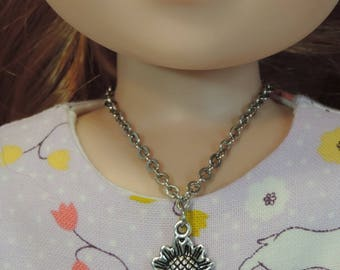 Wellie Wishers Silver Sunflower Necklace for American Girl 14.5 inch dolls
