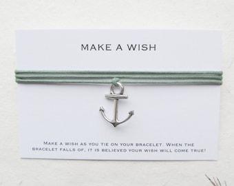 Wish bracelet, make a wish bracelet, friendship bracelet, anchor bracelet, W58
