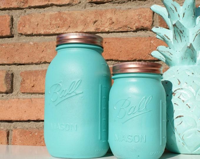 Aqua & Copper Hand Painted Ball Mason Jar // Home Centerpieces // Wedding Decor // Teacher's Gift // Mother's Day Gift // Unique Gift Ideas