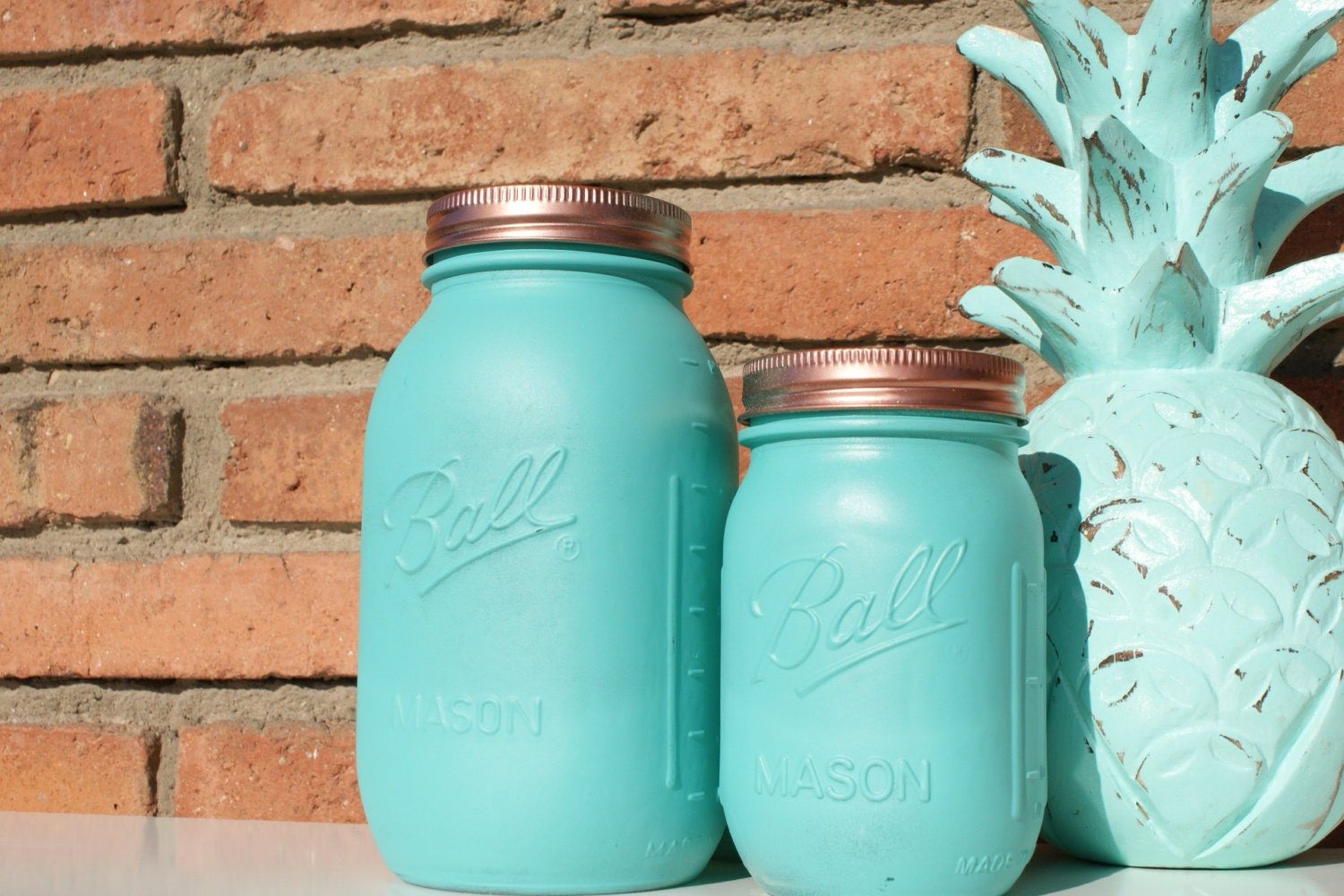 Aqua Copper Hand Painted Ball Mason Jar Home Centerpieces Wedding Decor Teachers Gift Mothers Day Unique Ideas