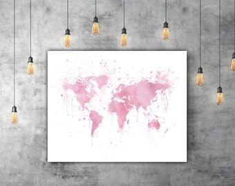 Pink World Map Wall Art, Wanderlust Decor, Pink Watercolor Travel Print, World Map Watercolor Splashes, Travel Map Art Print, Earth Art