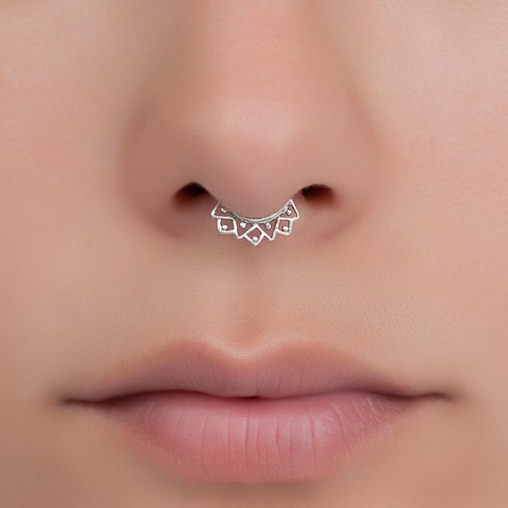 Tiny Fake Septum Ring. fake septum jewelry. septum clip.  Material:  Sterling silver, Gold plated or Brass