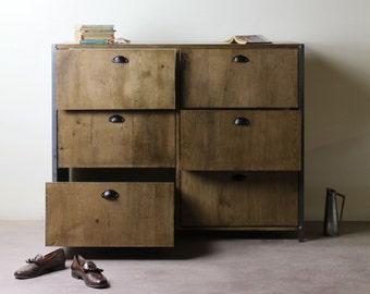 INDUSTRIAL 6 Drawer Chest - Solid Oak - Bedroom Furniture