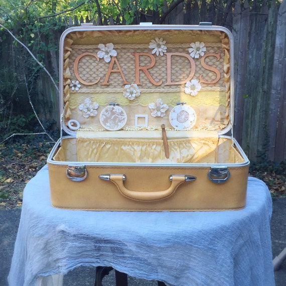 Anniversary box wedding ceremony : Wedding card box trunk ceremony anniversary rustic suitcase