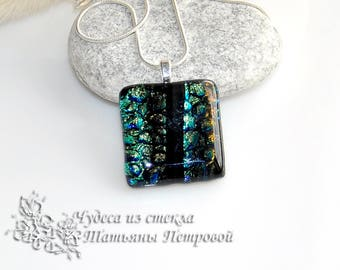Dichroic necklace, fused glass necklace, black necklace, black, glass pendant, blue necklace, glass jewelry