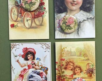 Victorian Girls & Boy Roses Button Note Card Choice