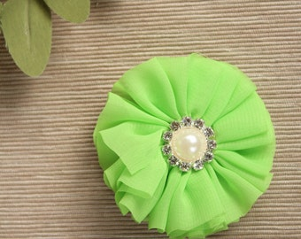 Green Flower for Collar, Green Collar Flowers, St. Patrick's Day Dog Flowers, Green Bows, Green Flowers, Dog Flowers, Chiffon Flowers