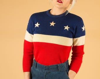 vtg rare 50's skåne AMERICANA STARS + STRIPES wool sweater