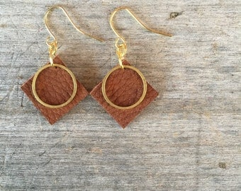 Dark Brown Circle Leather Earrings - Leather Earrings - Boho Earrings - Leather Drop Earrings - Leather Dangle Earrings - Gift for Her