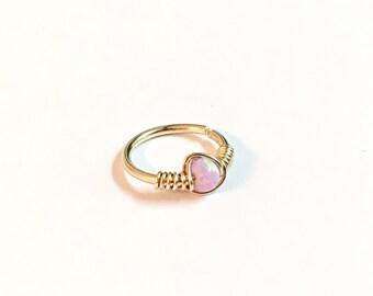 14K Solid Gold Tiny Hoop Nose Ring, tragus hoop 14K gold cartilage earring, gold helix, helix hoop, helix cartilage earring, helix piercing