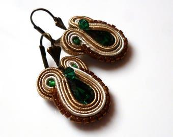 Boho Chic Soutache Earrings Tiny Swarovski Beige-Green Elegant Glamour Ohrringe Soutache Boucles d'oreilles soutache Orecchini Soutache