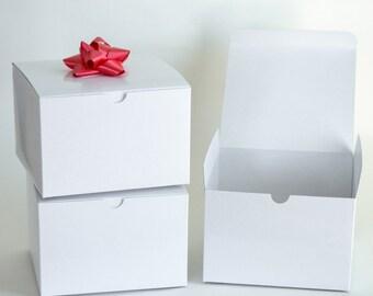 "White Gift Boxes, 10 Gift Boxes, Favor Boxes, Wedding Favor Boxes, White Boxes, Paper Boxes 6x6x4"""