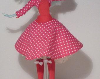 Circle cut skirt: Pink pocadot