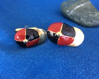 Vintage Cuff Links Horse Racing Jockey Hats Caps with Red & Black Enamel Mad Men, Race Track, Lounge 60's