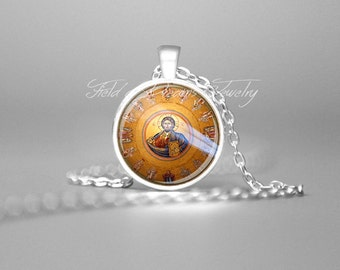 JESUS PENDANT CHRISTIAN Necklace Christian Gifts Religious Gifts Spiritual Gifts Painting of Jesus Necklace Painting of Christ Pendant Gift