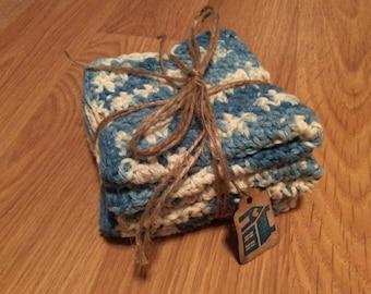 Set of 3 Cotton Crocheted Dishcloths/Washcloths