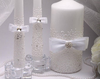 Wedding unity candle set White Unity candle Unity candle set Personalized unity candle Ceremony unity candles set Wedding Unity Candle white