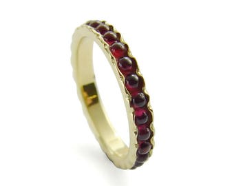 garnet wedding band red gemstone ring thin stacking ring 14k gold band