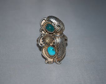 Sterling silver ring size 11 with turquoise setting.