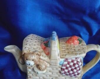 Teddy Bear's Picnic Tea Pot Hand-decorated