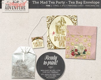 Alice In Wonderland printable tea bag envelopes, party printables, printable collage sheet vintage mad tea party digital download