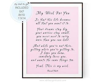 My Wish For You, Rascal Flatts, Graduation Gift, Teen Room Decor,  Newborn Gift, Nursery Wall Art, Gift Ideas, Graduation Present,  D15-23