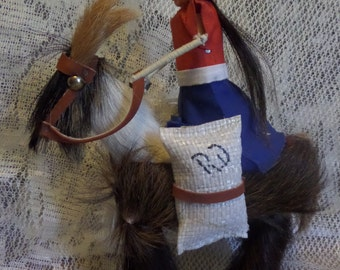 Vintage Hand made woman riding donkey burro with real animal hair