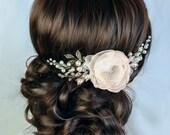 Bridal hair flower Wedding Hair Flower hair comb Bridal hair clip Wedding hair clip Bridal fascinator Floral hairpiece Champagne hair clip