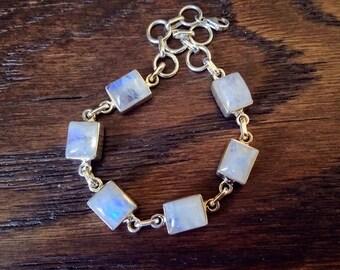 Genuine Moonstone Bracelet - Silver Bracelet -  Rainbow Moonstone Jewelry - Moon Stone Bracelet - White Bracelet