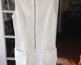 "60's white polyester knit shift ""Laugh In"" style"