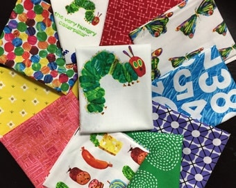 The Very Hungry Caterpillar Fabric Bundle - Curated by Needle in a Fabric Stash - 11 Fat Quarters
