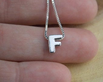 Initial F Necklace, Letter F, Letter F Necklace, Monogram F, Letter F Pendant, F Charm, F Jewelry, Alphabet, Sterling Silver F, Stampsink
