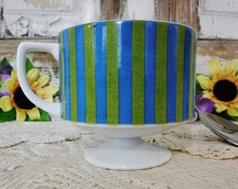 Footed Coffee Cup/Mid Century Pedestal Porcelain Cup/60's Mod/Striped/Green/Blue/White/Japan/Vintage