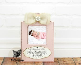 Baptism Gift GIRL Christening Gift GIRL Personalized Picture Frame Baptism Gift for Goddaughter Birth Baby Shower Gift First Birthday Frame