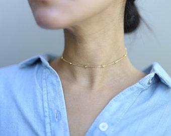 Gold Beaded Ball Choker Necklace  // Satellite Necklace // Dew Drop Choker Necklace // Gift for her