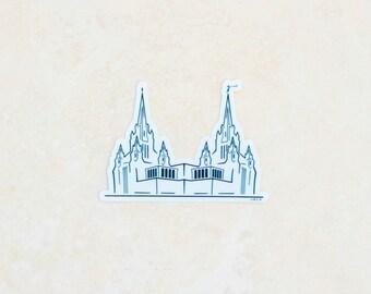 San Diego Temple Transparent Vinyl Sticker (black and white)