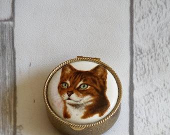 Vintage Miniature Circular White Metal and Ceramic Cat Box