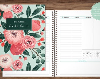 planner 2017 custom 2017 2018 planner student planner VERTICAL LAYOUT weekly monthly calendar agenda / teal pink bouquet