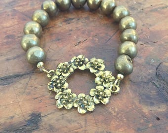 Druzy Bead Flower Wreath Bracelet